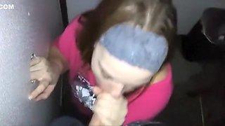Hot gloryhole wife swallow strangers cum and barebacking