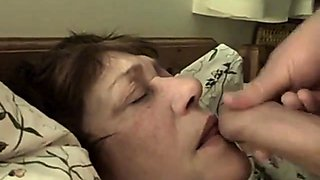 old perverted maid receive cum in her face