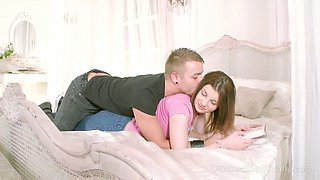 Svelte natural GF Samantha begs dude to fuck both of her hungry holes