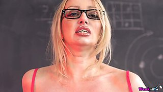 Slutty teacher Amber Jayne takes off panties and shows her hungry hole