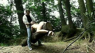 Claudie bound and fucked in the forest