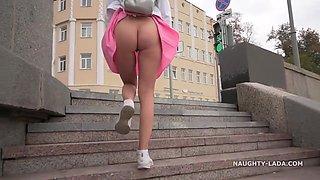 Naughty Russian Milf Lada - Upskirt Walking