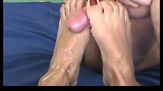 footjob by asian wife with loads of cum