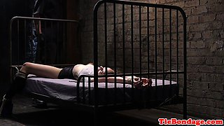 Restrained BDSM babe disciplined by maledom