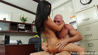 Jaw dropping hoe Romi Rain rides meety cock of her boss