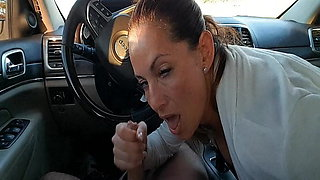 office co-worker sucking cock and swallowing in the car