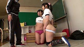 Hottest Japanese models Mamiru Momone, Mari Kobayashi in Amazing JAV censored Swallow, Gangbang scene