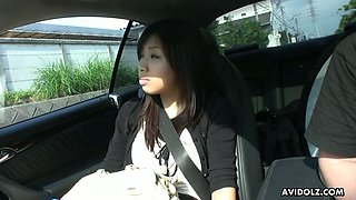 Asian chick Karin Asahi gives a blowjob in the car and gets wet