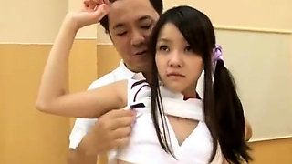 Japanese AV teen in school uniform has hardcore group sex