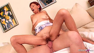 Slim Granny with Red Hair and Hairy Pussy Fuck by Young Guy