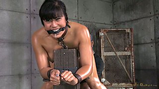 Hot submissive Filipina brunette gets oiled and nailed by studs (MMF)