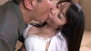 Bald old Asian guy fucks the big tits Japanese girl