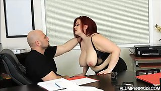 Sexy Plump Busty Redhead Fucks Her Hubby Boss