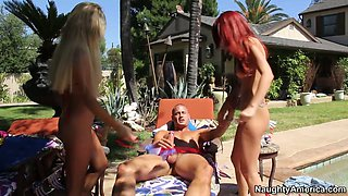 Two gorgeous girls Monique Alexander and Tasha Reign are fucking furious outdoor