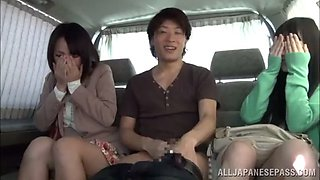 threesome sex in a backseat with gorgeous japanese babes