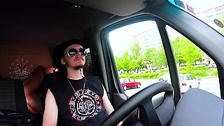 BUMS BUS - Squirting big titted German rides cock in the van