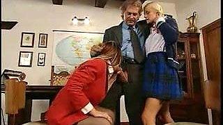 Teacher fucks Mom-Daughter in parent teacher conference