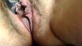 Ugly hairy snatch of my mature wifey getting spooned