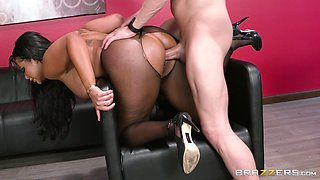 big tittied latina riding a co-worker's cock