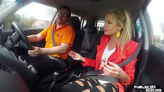 The busty euro publicly rides the instructor in the back seat