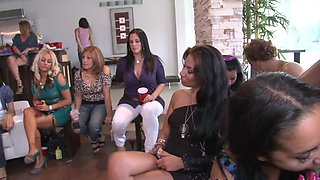Sexy bachelorette and her friends sucking cocks at the party