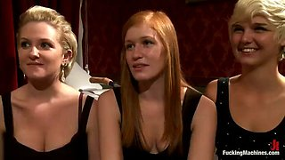 two blondes and a redhead playing with fucking machines