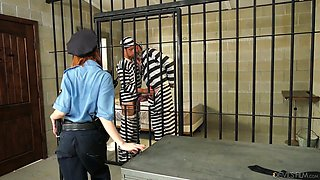 Slutty chick in police uniform Alexa Nova gets fucked by two bisexual dudes in the prison