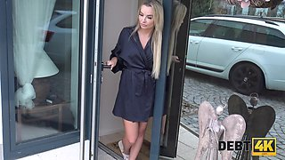Pretty hot blonde Victoria Pure gives her head and gets fucked for debt