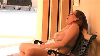 Masturbating milf in glasses