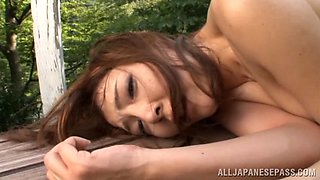 Chieri Matsunaga Asian milf enjoys an outdoor dick ride