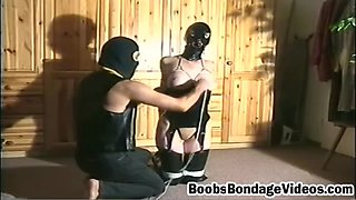 Nasty blonde whore dominated and tittormented