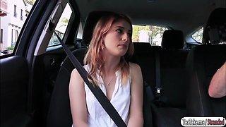 Pretty chick Kristen Scott rides strangers car and gets fucked